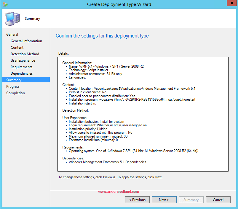 Deploy Windows Management Framework with SCCM - Step 10