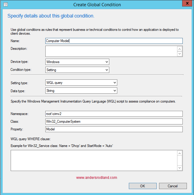 global condition in sccm - wmi computer model