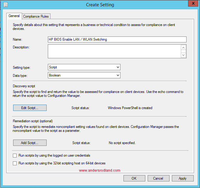 Manage BIOS Settings with SCCM Compliance Settings -3