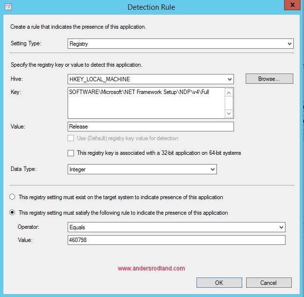 .NET Framework 4.7 detection method Windows 10 1607