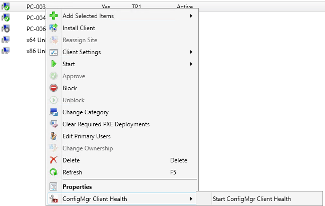 ConfigMgr Client Health Right Click Tool