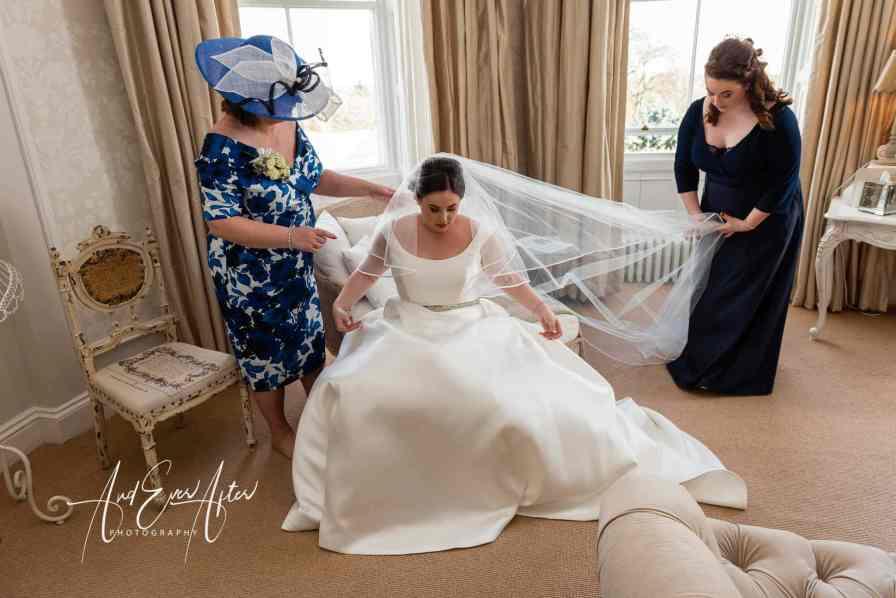 bride preparations, wedding dress, lartington hall