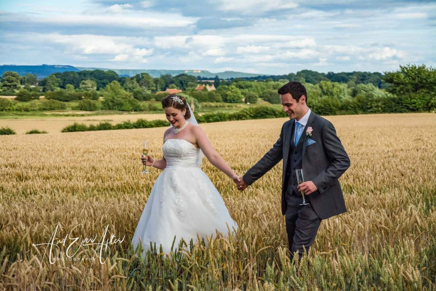 wedding venue, bride and groom in cornfield, northallerton
