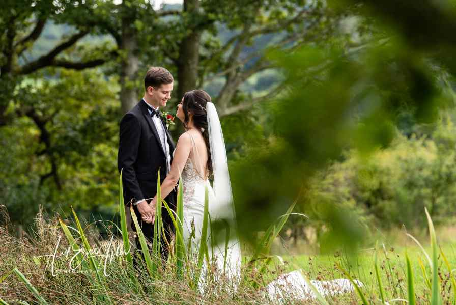 County Durham wedding photographer, black horse at Beamish, bride and groom, wedding