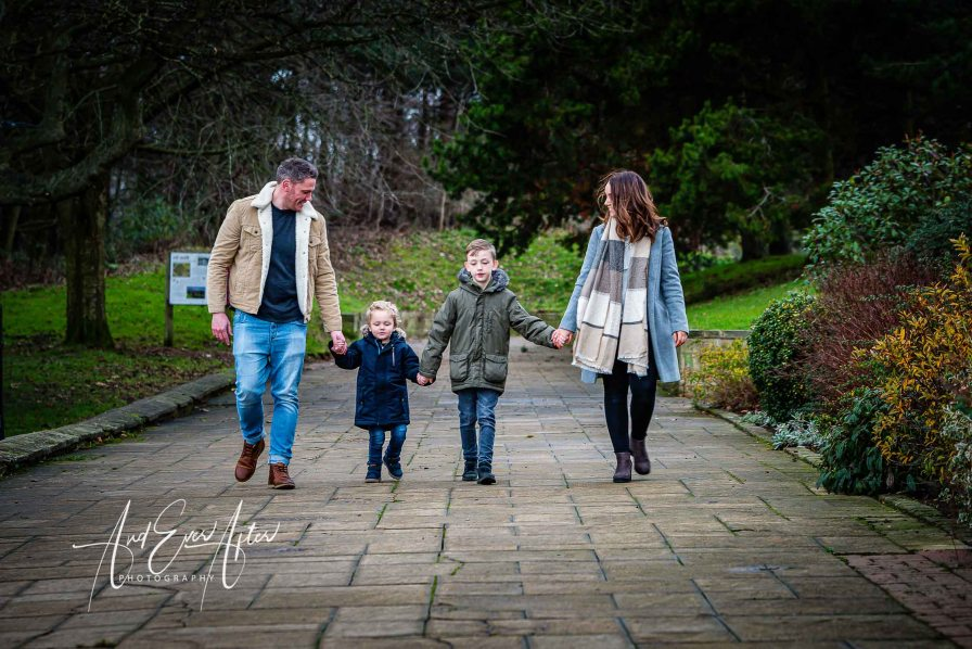 engagement shoot, family walking together
