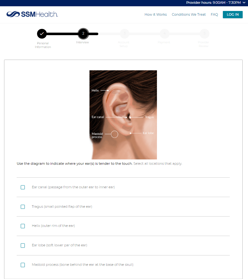 Desktop Virtual Visit Ear Pain