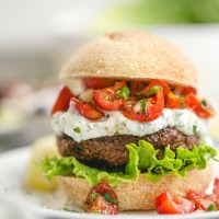 Grilled Lamb Burgers with Yogurt Sauce and Fresh Tomato Salsa
