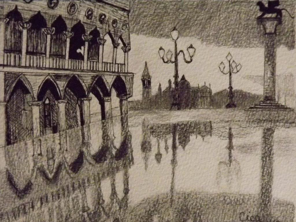 St. Marc square, Venice - Ink on paper by Andrea Kucza Andipainting