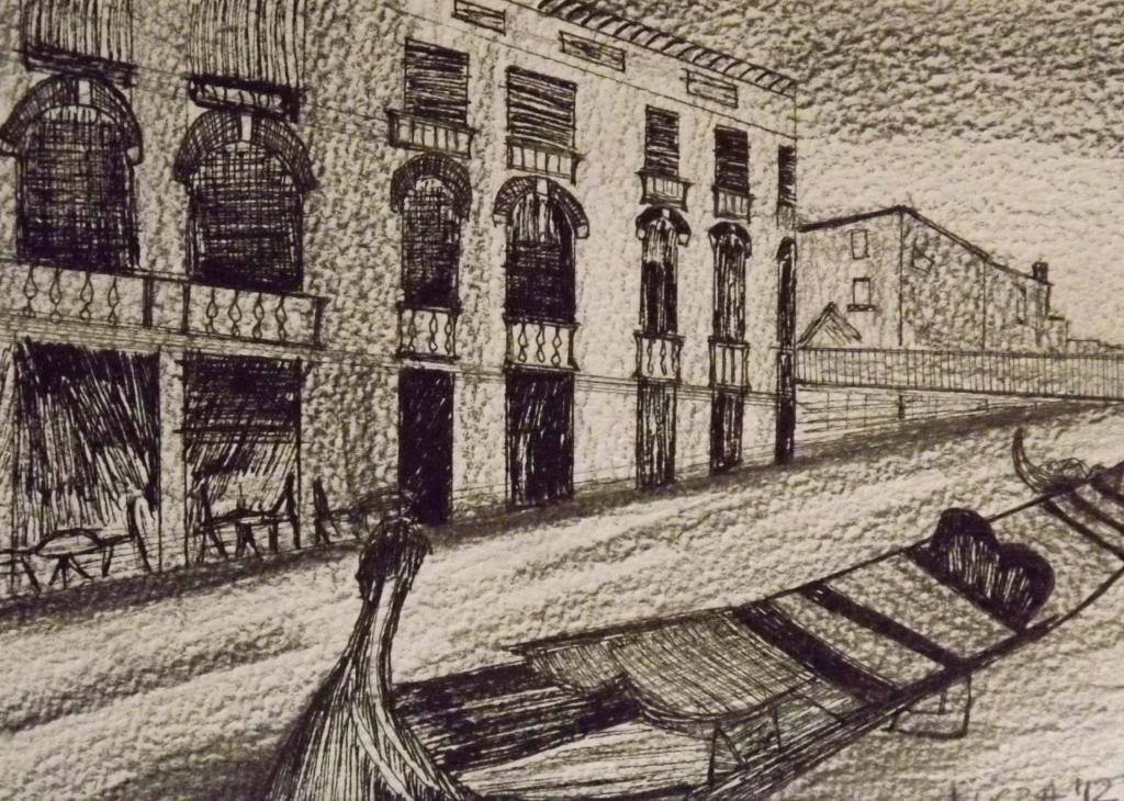 Canal Grande - Ink on paper by Andrea Kucza Andipainting