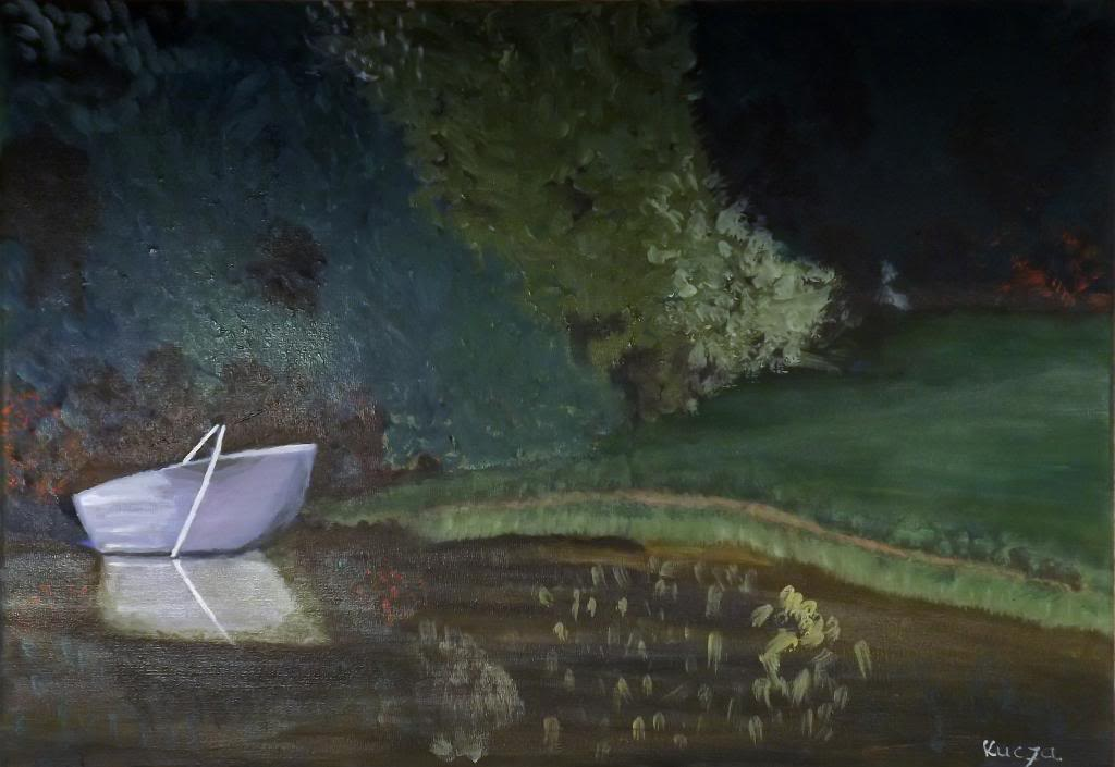 Landscape with the boat - Acryilic on canvas by Andrea Kucza Andipainting