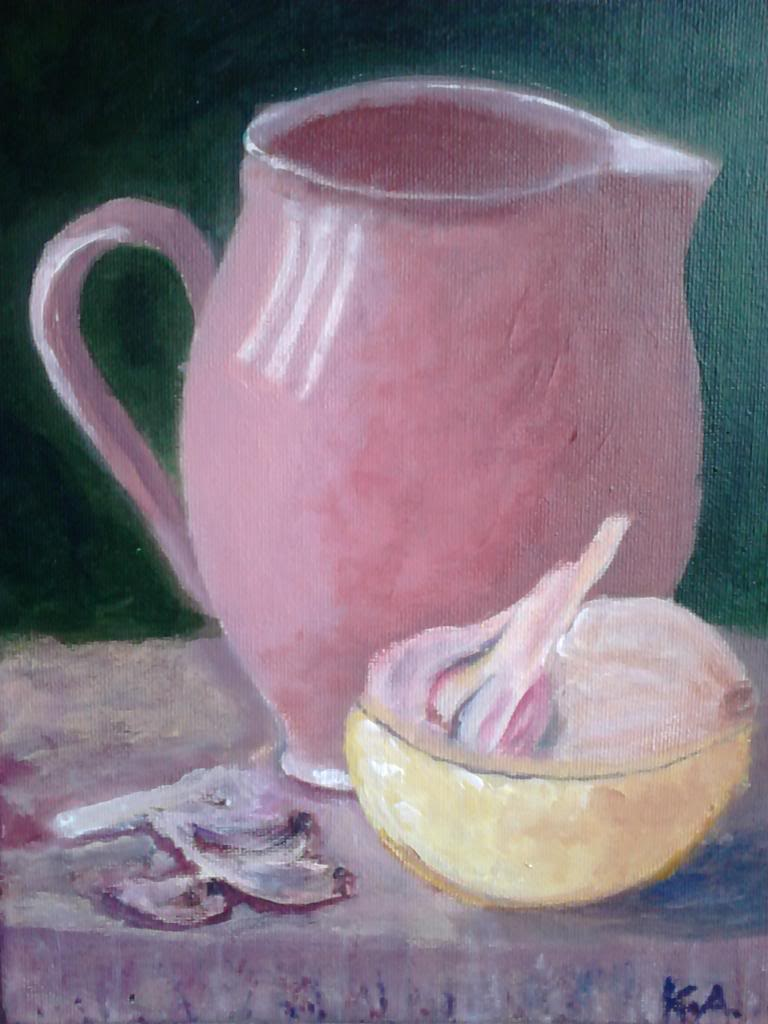 Still life with the jug and garlic, after Will Kemp - Acryilic on canvas by Andrea Kucza Andipainting