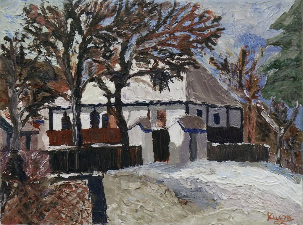 Country Living Museum in Szeklerland - Acryilic on canvas by Andrea Kucza Andipainting.com