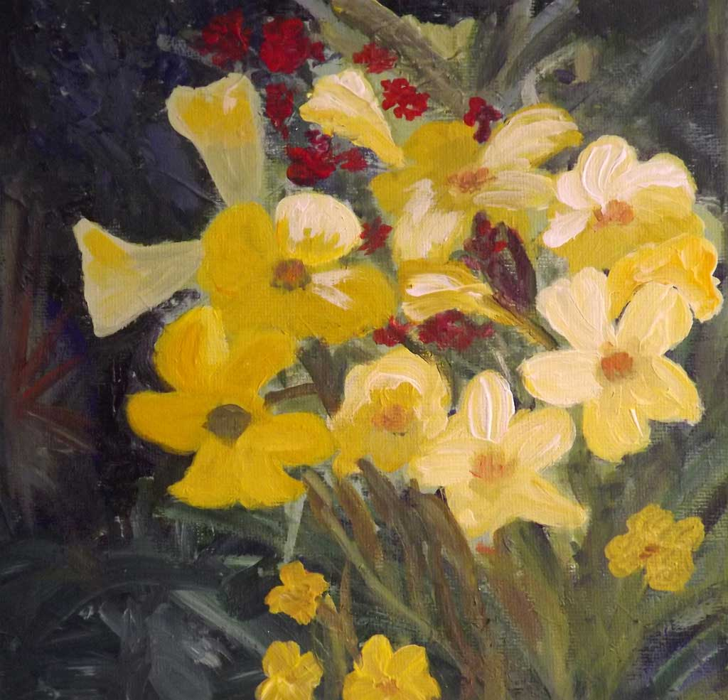 Yellow flowers - Acryilic on canvas by Andipainting