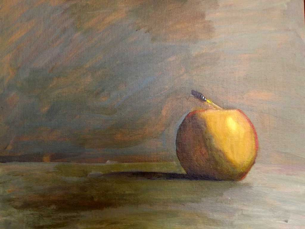 Still life with apple - Acryilic on canvas by Andipainting
