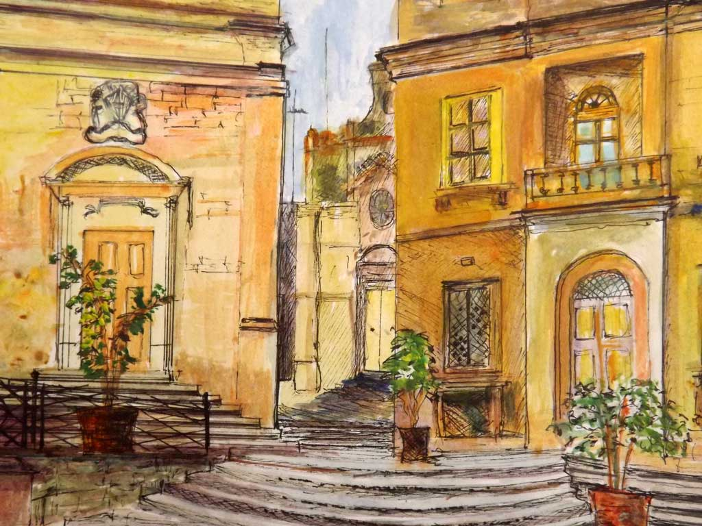 Birgu - Acryilic on paper by Andipainting