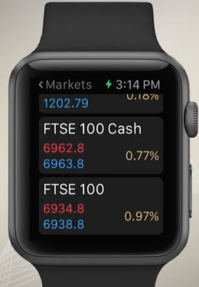 Trading sur Apple Watch avec IG Visualiser les cours de bourse avec IG Apple Watch