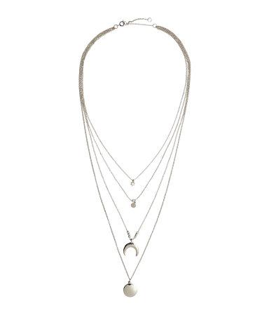 zilveren multistring halsketting - H&M ft. Coachella