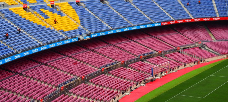 Section of Camp Nou football stadium