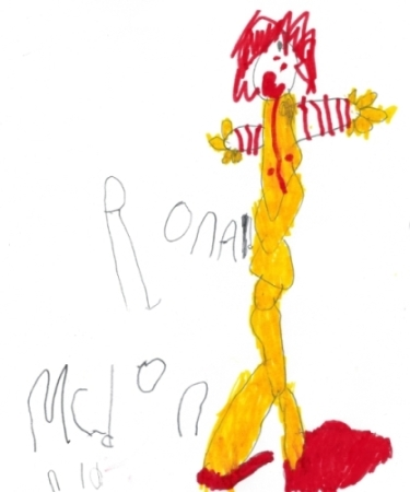 Ronald McDonald Marker and Pencil Drawn and Written by Megan 21 December 2014