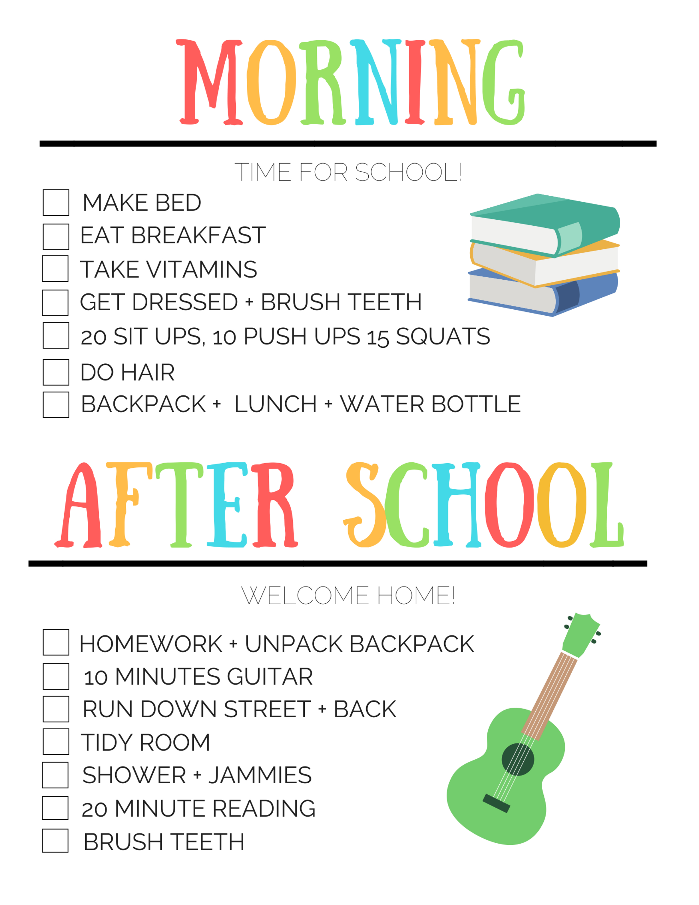 Before And After School Routine