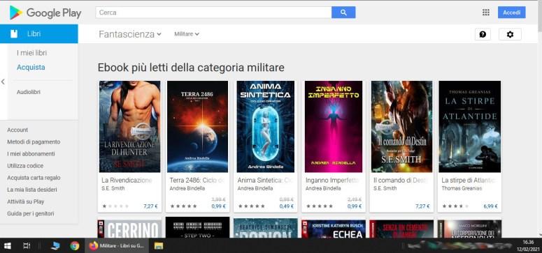 google play store piu letto fantascienza terra 2486 anima sintetica inganno imperfetto cyberpunk cyborg andrea bindella autore fiction ebook