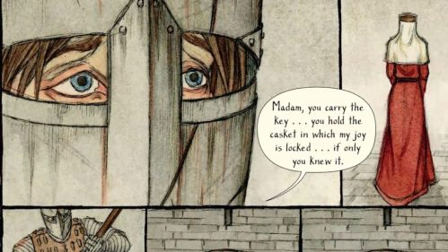 Yvain: The Knight of the Lion], written by M.T. Anderson, illustrated by Andrea Offermann