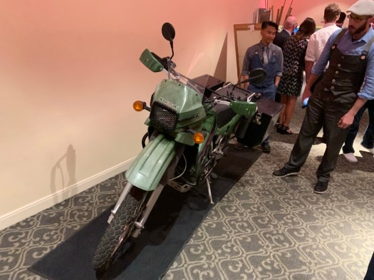 One of the motorcycles used in the cross-Baja journey was displayed at the premier.