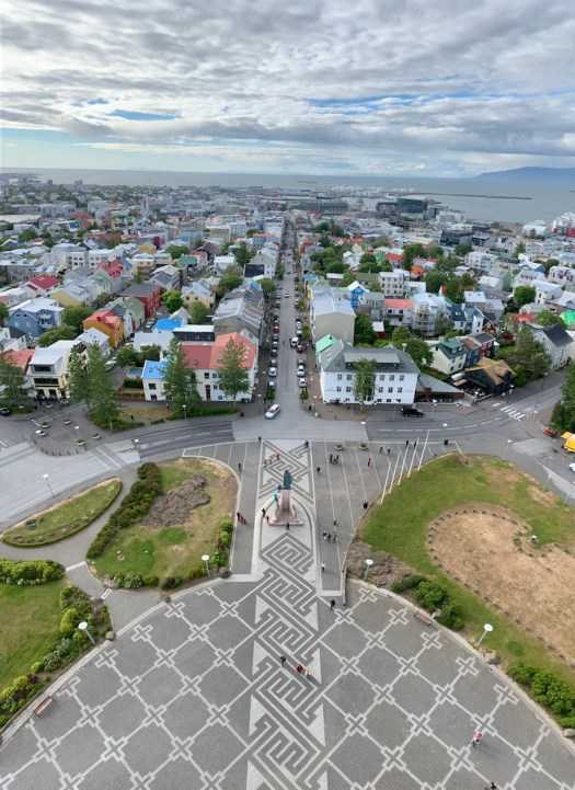 View of Reykjavík from the top of the Hallgrimskirkja tower (a Lutheran church).