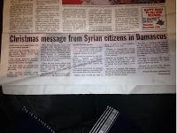 Messaggio di Natale dai cittadini siriani di Damasco