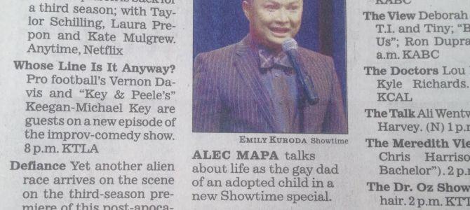 Los Angeles Times Print edition highlights Alec Mapa: Baby Daddy