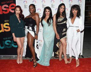 """LOS ANGELES, CA - SEPTEMBER 28: (L-R) Transgender television personalities LA, Bionka, Bambiana, Xristina and Nya arrive at the premiere party for Fuse's """"Transcendent"""" at The Village at Ed Gould Plaza on September 28, 2015 in Los Angeles, California. (Photo by Amanda Edwards/WireImage)"""