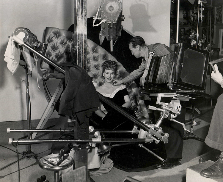 Photo of Andrea King, readied by Warner Bros. studio photographer Bert Six for another session in the Still Gallery (1944).