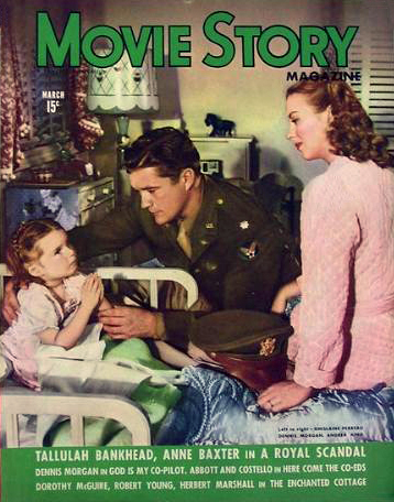 Gigi Perreau, Dennis Morgan and Andrea King on the cover of Movie Story Magazine, March 1945.