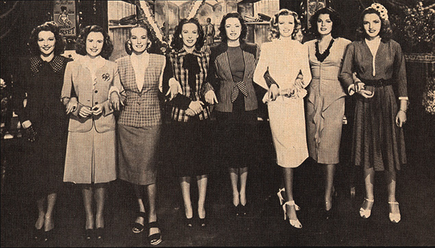 """(Pictured, left to right:) Julie Bishop, Joyce Reynolds, Faye Emerson, Andrea King, Eleanor Parker, Dolores Moran, Lynne Baggett and Angela Greene, as they appeared in """"Hollywood Canteen."""" Warner Bros., 1944."""