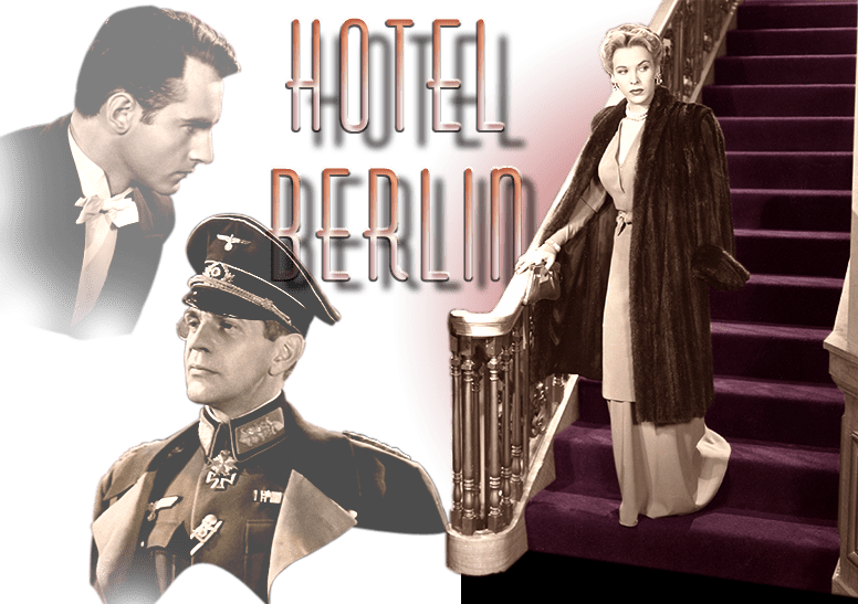 "Photo montage of Helmut Dantine, Raymond Massey, and Andrea King in ""Hotel Berlin."" Warner Bros., 1945."