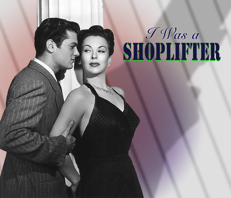 "Photo of Tony Curtis and Andrea King in Universal's ""I Was a Shoplifter,"" 1950."