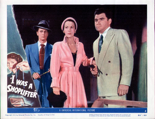 Photo of original lobby card with Andrea King and Tony Curtis (left).
