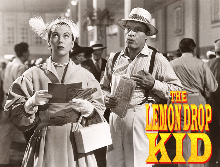 "Photo of Andrea King and Bob Hope in ""The Lemon Drop Kid."" Paramount, 1951."
