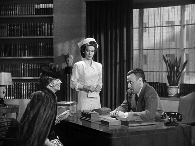 "Georgette Mckee (Andrea King) makes a brief un-billed appearance as Dr. Byles' nurse in 1944's ""Mr. Skeffington."""