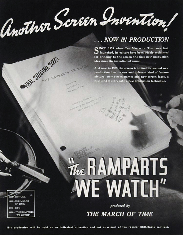 """The Ramparts We Watch,"" RKO, 1940."