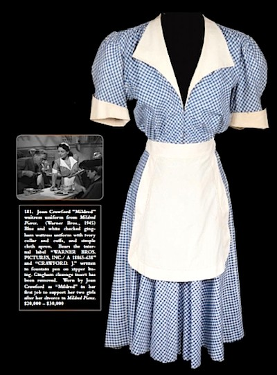 """Joan Crawford's waitress uniform from """"Mildred Pierce"""" (1945), worn by Andrea King as Sally Otis in """"The Man I Love"""" (1947)."""