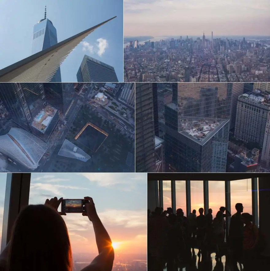 views from the observation deck of the Freedom Tower in NYC