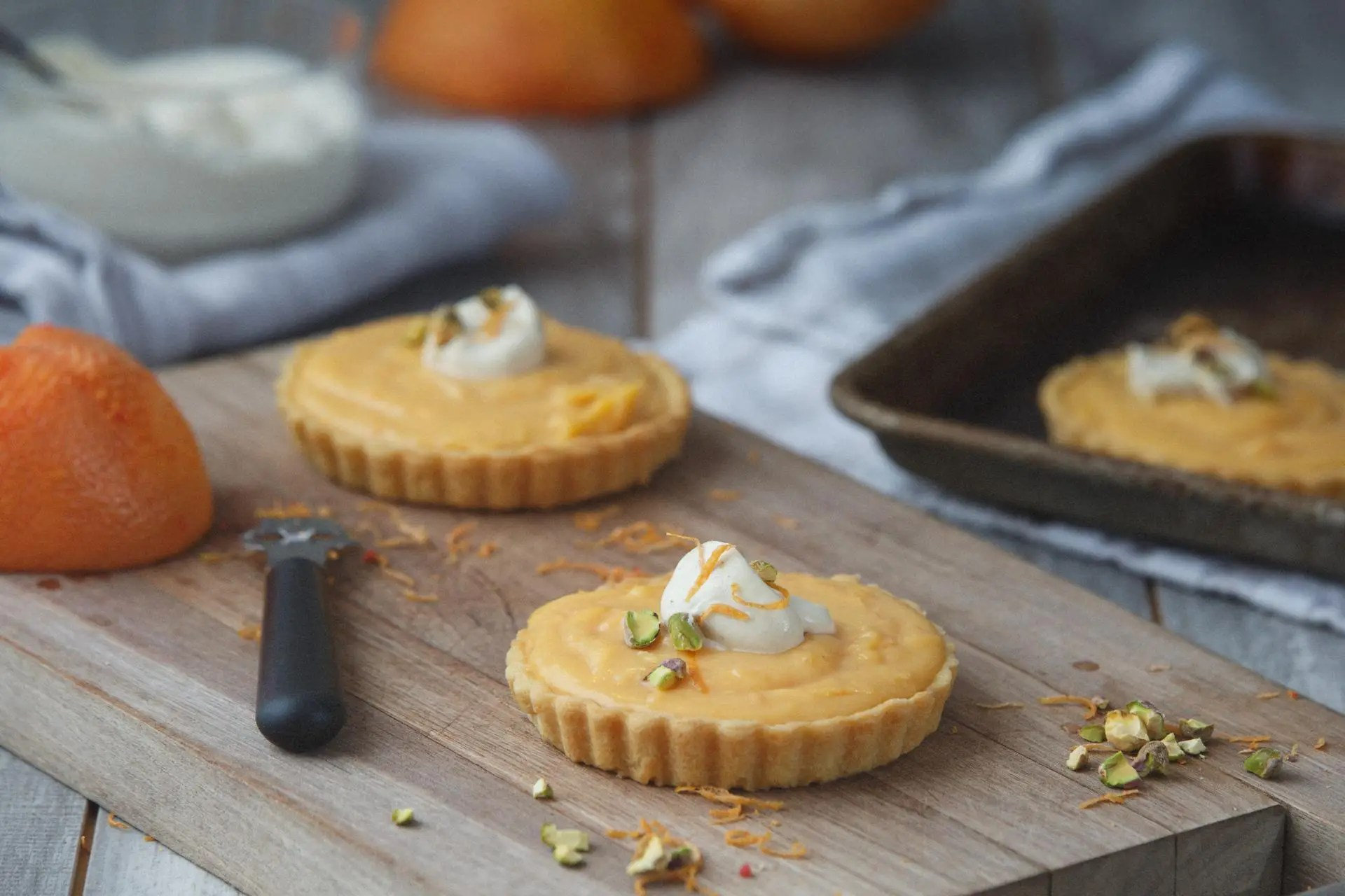 Grapefruit Curd Tart with Chamomile Infused Whip Cream