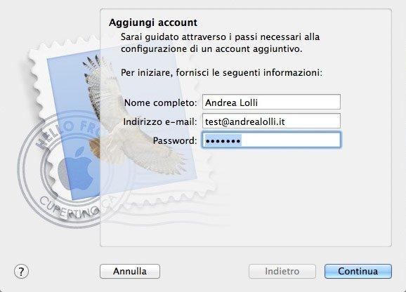 Configurare Mail su Mac - Step 1