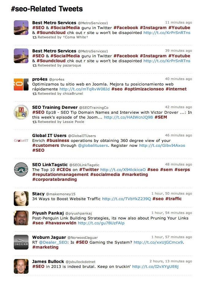 Guida a Twitter - Tweet hashtags SEO