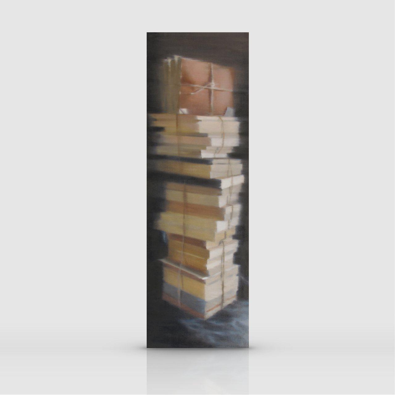 FDP05-Pila-di-libri-olio-su-tela-120x40cm