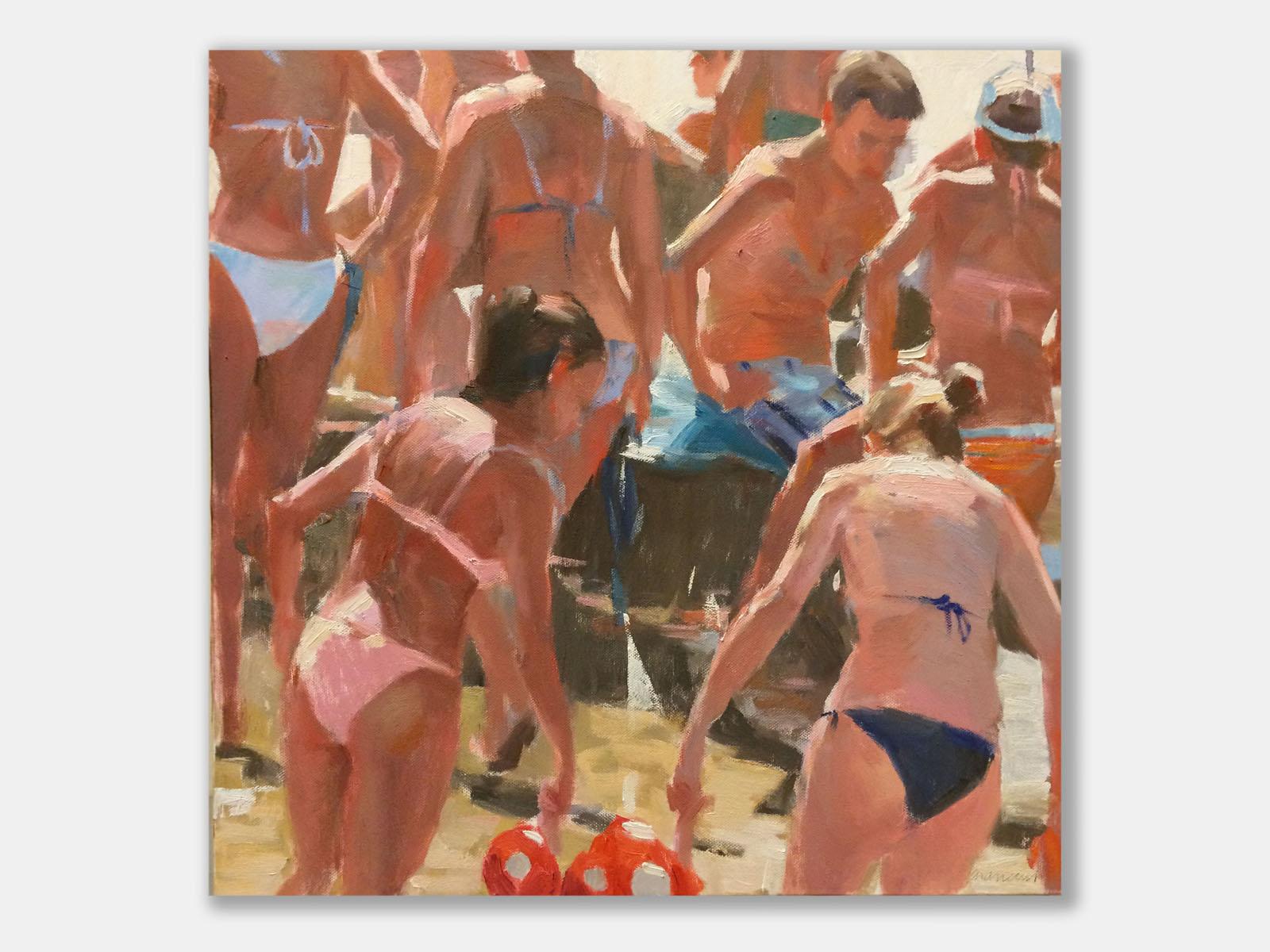 Andrea Mancini bagnanti 01616 Devozione e speranza 2014 olio 50x50