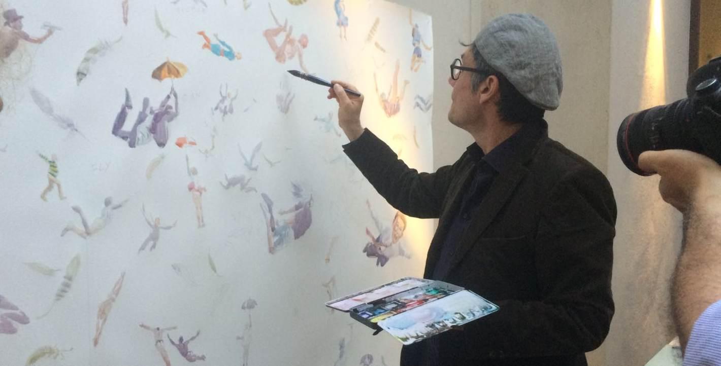 Andrea Mancini Live Painting watercolor illustrator artist
