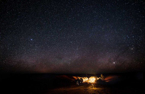 luxury camp in Merzouga milky way stars in the desert