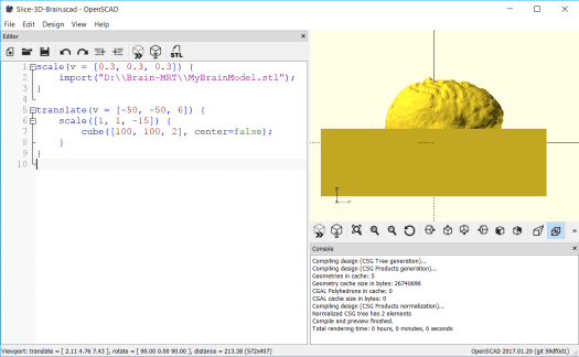 A cube added to the 3D Brain scene with OpenSCAD